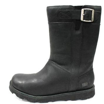 CHEN1ER Ugg Men's Britton Black Buckle Leather Tall Boots Model 3026