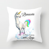 Llamacorn: It's Love  Throw Pillow by LookHUMAN