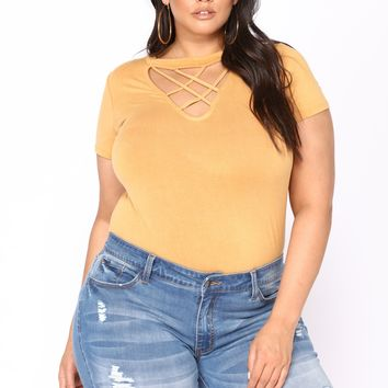 Double Crossed Top - Mustard