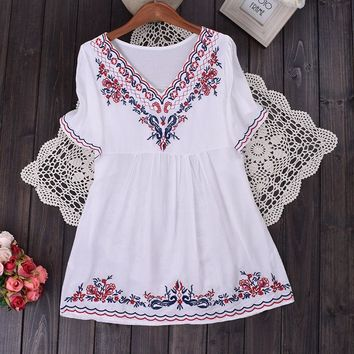 Boho Hippie Peasant Top! With Vintage Style Embroidery