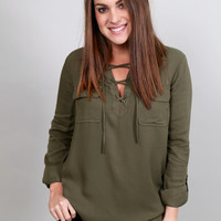 Hit The Road, Jack Top By BB Dakota {Olive}
