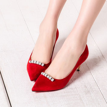 Summer High Heel Elegant Metal Pointed Toe Shoes [4919958340]