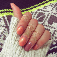 Above Knuckle Chevron Ring Set, Gold Adjustable Midi Ring