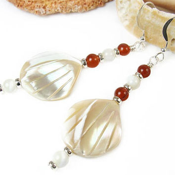 Seashell Earrings, Beach Earrings, Long Boho Shell Drop Earrings, Ocean Jewelry Mother of Pearl, Carnelian Dangles, Handmade Gift for Her