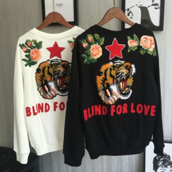 GUCCI  Fashion Casual Straps Tiger Stars Embroider Hooded Hoodies Sweatshirt Top