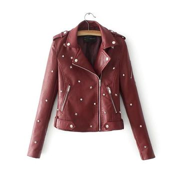 European Style Lapel Zipper Women Motorcycle Slim Cropped PU Jacket