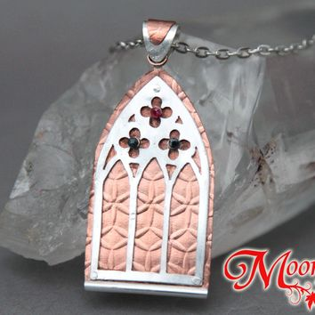Gothic Church Window Mixed Metals Pendant Necklace