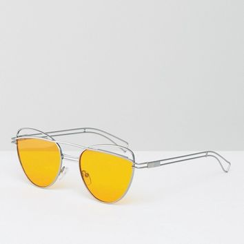 ASOS Cat Eye Sunglasses With Wire Highbrow And Double Nose Bridge with Orange Lens at asos.com
