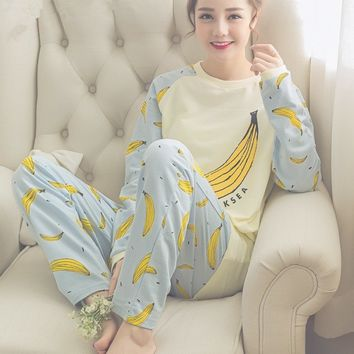 Long-sleeve Cotton Sleep Pajama Sets Floral Sleepwear