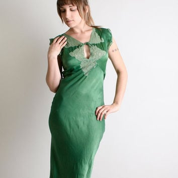 Vintage 1930s Silk Dress Deep Emerald Green Maxi by zwzzy on Etsy