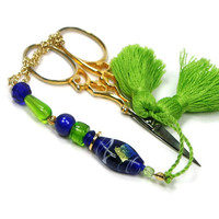 Scissor Fob Beaded Lime Cobalt Needlepoint Sewing Quilting Cross Stitch