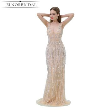 Elnorbridal Champagne Mermaid Prom Dresses Long Real Photo 2017 Imported Party Dress Robe De Bal Formal Evening Gown