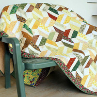 Twin Bed Quilt - Patchwork Sofa Couch Cover - Throw Quilt - Quilted Bed Blanket - Yellow Brown Green Twin Quilt