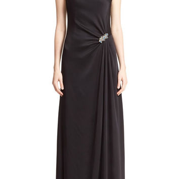 Liquid Crepe Draped Gown