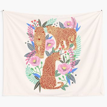 'Leopard Idea, leopard print, animal print, flower print' Wall Tapestry by uzualsunday