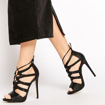 New Look Zilli Black Tie Up Heeled Sandals