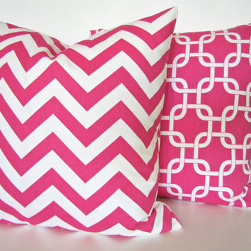 Sale THROW PILLOWS SET of  2 . 16x16 Decorative Throw Pillows Pink 16 x 16 Throw Pillow Covers Fabric Front & Back Home and living
