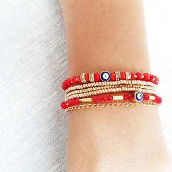 Evil eye bracelet red gold ethnic ottoman arabic islamic turkish bracelet jewelry best friend birthday women mother jewelry istanbul
