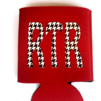 Custom Houndstooth Monogram Koozie, Houndstooth Elephant,  Can Koozie, Personalized Koozie