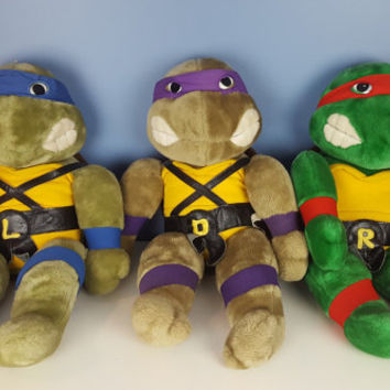 Vintage Ninja Turtles Plush Donatello Doll Purple Ninja Turtle Vintage 90s TMNT 1990 Toys 1990s Kids 90s Kids Gift for Him Christmas Holiday