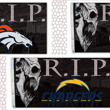 R.I.P. Set Of 3 3X5ft Flags AFC West Broncos, Chargers & Chiefs