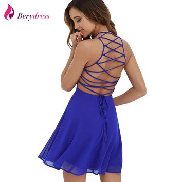 Berydress Sexy Women Summer Dress Cross Lace Up Backless Spaghetti Strap Short Skater Dress Chiffon A Line Sleeveless Mini Dress