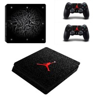 Jordan Basketball Air Logo PS4 Slim Skin Sticker Decal For Sony PS4 PlayStation 4 Slim Console and 2 Controllers Stickers