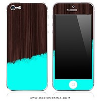 Turquoise Two-Tone Wood 1 iPhone Skin