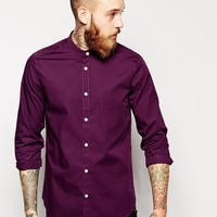 ASOS Smart Shirt In Long Sleeve With Grandad Collar at asos.com