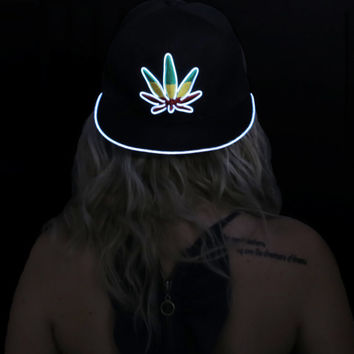 Light Up Marijuana Hat---Christmas, Burning Man, Festival Clothing, EDM, Tomorrowworld, Costume, New Years, Weed Leaf
