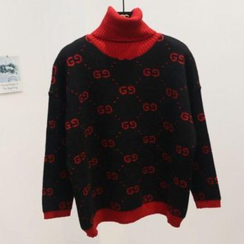 PEAPJ1A GUCCI new autumn and winter joker sweater female high collar double g letter sweater Black (red collar)
