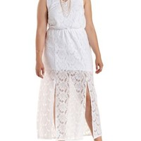 Plus Size White Side Slit Lace Maxi Dress by Charlotte Russe
