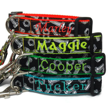 Personalized Dog Collar - Nuts and bolts dog collar - Male dog collar