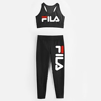 Fila Fashion Sport Gym Vest Tank Top Pants Trousers Set Two-Piece Sportswear