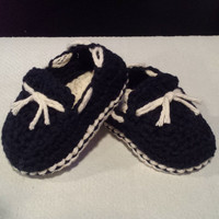 Crochet Baby Boy or Girl Loafers / Sperry's Inspired Slippers Topsiders Boat Shoes