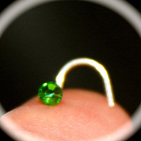 Emerald Green Crystal Nose Stud Ring, Cartilage Stud, tragus cartilage Stud, Tiny Nose Ring, Tiny Nose Ring, Nose Jewelry