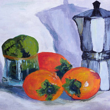 Fruit still life, original acrylic Still Life, Black and white, Coffee Lover  Kitchen Art fruit kettle art, Kitchen decor custard apple
