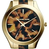 Michael Kors Watches Slim Runway Women's Watch (Gold and Horn)