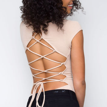 Take Your Time Lace Up Bodysuit - Nude