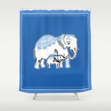 Ornate Elephants Blue and White Shower Curtain by Artist Abigail