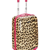 """F191-PINKLEOPARD 20"""" Polycarbonate Carry On Luggage Set"""