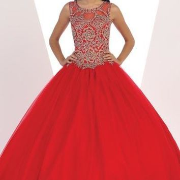 Red Gold lace top quinceanera Dress Mayqueen LK72 - CLOSEOUT