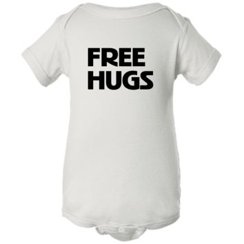 """Free Hugs"" White Creeper Baby Onesuit"
