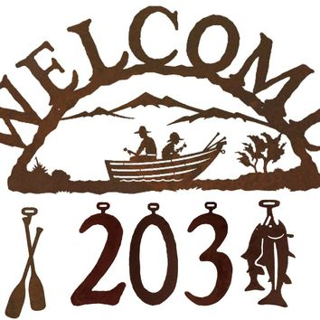 Row Boat Handcrafted Metal Welcome Address Sign - Cabin Series