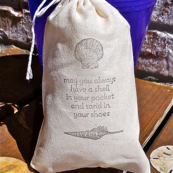 Elegant Beach Wedding Hand Stamped Cotton Muslin 4x6 Favor Bag - Also great for Beach and Nautical themed parties