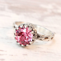 Pink ring, sterling silver with Swarovski Rose crystal, vintage style, floral band, handmade, 8 mm crown setting, promise ring