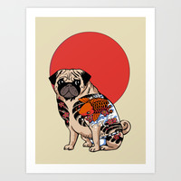 Yakuza Pug Art Print by Huebucket