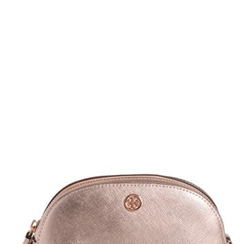 Tory Burch Robinson Small Metallic Leather Cosmetic Case | Nordstrom