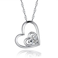 Women's 925 Sterling Silver Cubic Zirconia Heart To Heart Pendant Necklace
