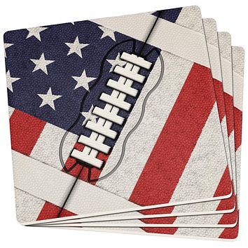 4th of July American Flag Patriot Football Set of 4 Square Sandstone Coasters